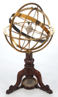 VICTORIAN STYLE BRASS AND WOOD ARMILLARY SPHERE 20th century 38 x 20-3/4 inches (96.5 x 52.7 cm)