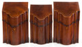 Furniture , A GROUP OF THREE GEORGE III-STYLE MAHOGANY AND SATINWOOD KNIFE BOXES . England, circa 1900. 13-3/4 x 8-3/4 x 9-1/4 inches (3... (Total: 3 Items)