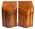 Furniture , A PAIR OF GEORGE III-STYLE MAHOGANY AND SATINWOOD KNIFE BOXES . English, circa 1900. 14-3/8 x 9 x 10-5/8 inches (36.5 x 22.9... (Total: 2 Items)