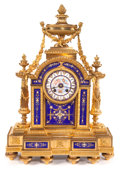 Decorative Arts, French:Other , A FRENCH LOUIS XVI-STYLE GILT BRONZE AND ENAMEL MANTLE CLOCK .Maker unidentified, France, circa 1900. Marks to mechanism: ...