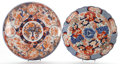 Asian:Japanese, TWO JAPANESE IMARI PORCELAIN CHARGERS . Circa 1900. Marks: (chopmarks). 17-1/4 inches diameter (43.8 cm) (larger). ... (Total: 2Items)