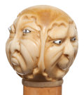 Decorative Arts, Continental:Other , A CARVED IVORY AND WOOD TRIPLE FACE CANE . Circa 1900 . 34-1/2inches length overall (87.6 cm). ...