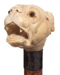 Decorative Arts, Continental:Other , A CARVED IVORY AND WOOD DOG CANE . Circa 1900. 36-1/2 inchesoverall length (92.7 cm). ...
