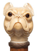 Decorative Arts, Continental:Other , A CARVED IVORY AND WOOD DOG CANE . Circa 1900 . 33-1/2 incheslength overall (85.1 cm). ...