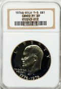 Proof Eisenhower Dollars: , 1976-S $1 Silver, Type One PR69 Cameo NGC. NGC Census: (760/0).PCGS Population (100/0). Numismedia Wsl. Price for problem...