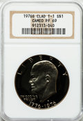 Proof Eisenhower Dollars: , 1976-S $1 Clad, Type One PR69 Cameo NGC. NGC Census: (260/0). PCGSPopulation (24/0). Numismedia Wsl. Price for problem fr...