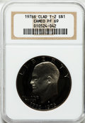 Proof Eisenhower Dollars: , 1976-S $1 Clad, Type Two PR69 Cameo NGC. NGC Census: (444/0). PCGSPopulation (59/0). Numismedia Wsl. Price for problem fr...