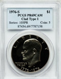 Proof Eisenhower Dollars: , 1976-S $1 Clad, Type One PR69 Cameo PCGS. PCGS Population (24/0).NGC Census: (260/0). Numismedia Wsl. Price for problem f...