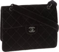 Luxury Accessories:Bags, Chanel Black Velvet Diamond Stitch Single Flap Bag with Matte BlackHardware. ...