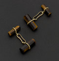 Estate Jewelry:Cufflinks, Tiger's Eye & 14k Gold Cufflinks. ...