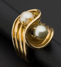 Estate Jewelry:Rings, Cultured Pearl 14k Gold Ring. ...