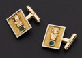 Estate Jewelry:Cufflinks, Emerald & 18k Gold Cufflinks. ...
