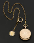 Timepieces:Pocket (post 1900), Elgin Gold Filled 16 Size & 10k Gold Chain With Diamond & Enamel Fob. ...