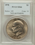 Eisenhower Dollars: , 1978 $1 MS66 PCGS. PCGS Population (339/5). NGC Census: (131/5). Mintage: 25,702,000. Numismedia Wsl. Price for problem fre...