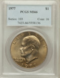 Eisenhower Dollars: , 1977 $1 MS66 PCGS. PCGS Population (806/14). NGC Census: (285/7). Mintage: 12,596,000. Numismedia Wsl. Price for problem fr...
