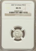 Modern Bullion Coins, 2007-W $10 Tenth-Ounce Platinum Eagle MS70 NGC. NGC Census: (374).PCGS Population (192). Numismedia Wsl. Price for proble...