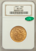 Liberty Eagles: , 1901 $10 AU58 NGC. CAC. NGC Census: (505/22175). PCGS Population(649/13690). Mintage: 1,718,825. Numismedia Wsl. Price for...