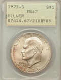 Eisenhower Dollars: , 1973-S $1 Silver MS67 PCGS. PCGS Population (3252/820). NGC Census:(745/135). Mintage: 869,400. Numismedia Wsl. Price for ...