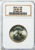 Franklin Half Dollars: , 1948-D 50C MS66 Full Bell Lines NGC. NGC Census: (60/0). PCGSPopulation (133/0). Numismedia Wsl. Price for problem free N...