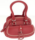 Luxury Accessories:Bags, Christian Dior Red Leather Small Detective Top Handle Bag. ...