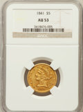 Liberty Half Eagles: , 1841 $5 AU53 NGC. NGC Census: (4/39). PCGS Population (5/22).Mintage: 15,800. Numismedia Wsl. Price for problem free NGC/P...