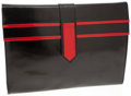 Luxury Accessories:Bags, Bally Black and Red Leather Clutch with Shoulder Strap. ...
