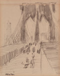 Fine Art - Work on Paper:Drawing, JOHN MARIN (American, 1870-1953). The Brooklyn Bridge andAbstract Landscape (pair), 1932. Pencil on paper. 5 x 7inches... (Total: 2 Items)