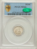 Seated Half Dimes, 1861 H10C MS66 PCGS Secure. CAC. PCGS Population (21/2). NGCCensus: (33/5). Mintage: 3,361,000. Numismedia Wsl. Price for ...