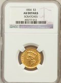 Three Dollar Gold Pieces, 1854 $3 -- Scratches -- NGC Details. AU. NGC Census: (183/3118).PCGS Population (333/2115). Mintage: 138,618. Numismedia W...