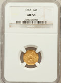 Gold Dollars: , 1862 G$1 AU58 NGC. NGC Census: (248/2467). PCGS Population(327/1721). Mintage: 1,361,390. Numismedia Wsl. Price for proble...
