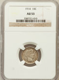Barber Dimes: , 1914 10C AU53 NGC. NGC Census: (2/723). PCGS Population (9/884).Mintage: 17,360,656. Numismedia Wsl. Price for problem fre...