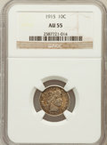 Barber Dimes: , 1915 10C AU55 NGC. NGC Census: (8/281). PCGS Population (20/369).Mintage: 5,620,450. Numismedia Wsl. Price for problem fre...