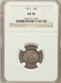 Barber Dimes: , 1911 10C AU58 NGC. NGC Census: (49/743). PCGS Population (87/870).Mintage: 18,870,544. Numismedia Wsl. Price for problem f...