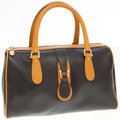 Luxury Accessories:Bags, Mark Cross Black and Tan Leather Satchel Bag. ...