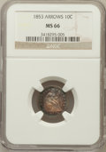 Seated Dimes: , 1853 10C Arrows MS66 NGC. NGC Census: (38/14). PCGS Population(33/18). Mintage: 12,078,010. Numismedia Wsl. Price for prob...