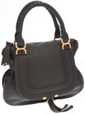 Luxury Accessories:Bags, Chloe Black Leather Marcie Top Handle Bag. ...
