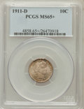 Barber Dimes, 1911-D 10C MS65+ PCGS. PCGS Population (57/42). NGC Census:(40/32). Mintage: 11,209,000. Numismedia Wsl. Price for problem...