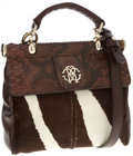 Luxury Accessories:Bags, Roberto Cavalli Brown Snakeskin and Pony Hair Top Handle Bag withShoulder Strap. ...