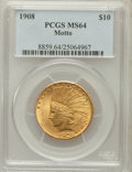 Indian Eagles: , 1908 $10 Motto MS64 PCGS. PCGS Population (202/104). NGC Census:(188/110). Mintage: 341,300. Numismedia Wsl. Price for pro...