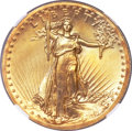 High Relief Double Eagles, 1907 $20 High Relief, Wire Rim MS66 NGC. CAC....