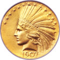 Indian Eagles, 1907 $10 Wire Rim MS66 NGC. CAC....