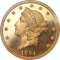 Proof Liberty Double Eagles, 1894 $20 PR66 Ultra Cameo NGC. CAC....