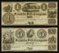 Obsoletes By State:Ohio, Franklin, OH - Franklin Silk Company $1, $5 18__ Remainders. ...(Total: 2 notes)