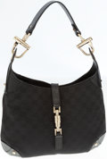 Luxury Accessories:Bags, Gucci Black Classic Monogram Canvas and Leather Jackie O ShoulderBag with Piston Closure. ...