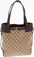 Luxury Accessories:Bags, Gucci Classic Monogram Canvas and Brown Leather Tote Bag. ...