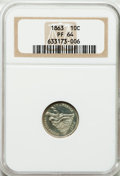 Proof Seated Dimes: , 1863 10C PR64 NGC. NGC Census: (43/46). PCGS Population (24/20).Mintage: 460. Numismedia Wsl. Price for problem free NGC/P...