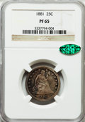 Proof Seated Quarters, 1881 25C PR65 NGC. CAC....