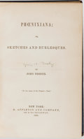 Books:Americana & American History, George H. Derby. Phoenixiana; or, Sketches and Burlesques.Appleton, 1856. Some rubbing and toning to cloth with chi...