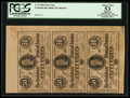 Confederate Notes:1864 Issues, Uncut Vertical Strip of Three T72 50 Cents 1864.. ...