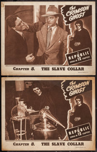 "The Crimson Ghost (Republic, 1946). Lobby Cards (2) (11"" X 14"") Chapter 8 -- ""The Slave Collar."" Ser..."